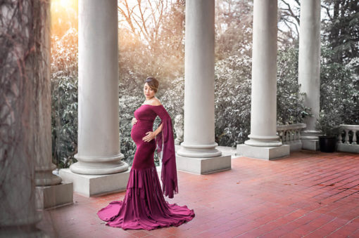 Melinda Burgundy Maternity Gown Eden Bao