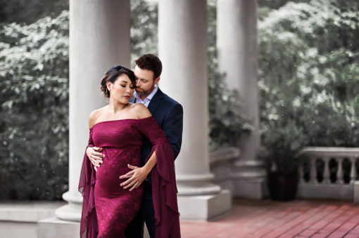 Melinda Burgundy Maternity Gown Eden Bao 2