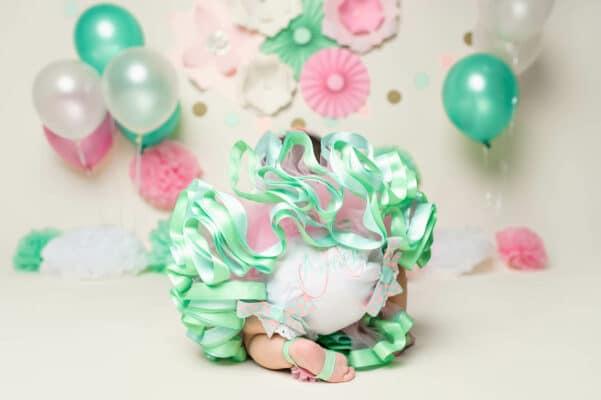 teal pink tutu cake smash by Eden Bao