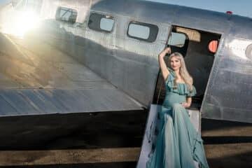 Camilla Tiffany Blue Maternity Gown 2