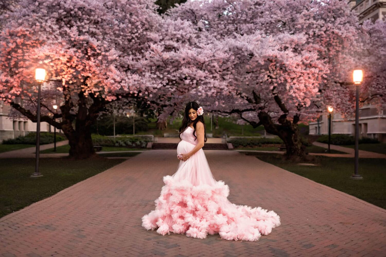 Cherry Blossom Harlow Maternity Gown Pink Eden Bao