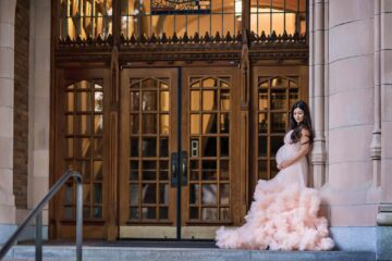 UW Harlow Maternity Gown Pink Eden Bao