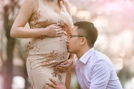 Cherry Blossom Nude Gold Pink Sequin Maternity Gown Eden Bao