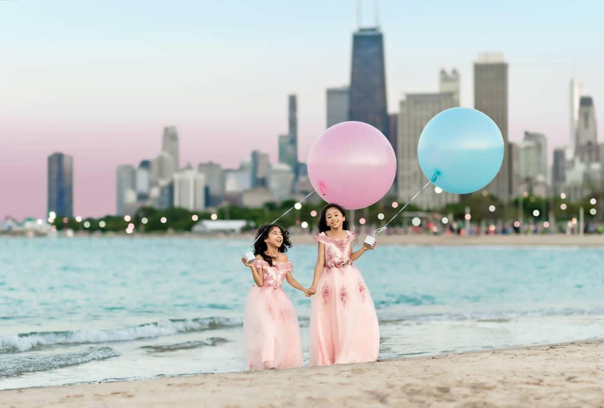 Chicago Skyline Children Portrait by Eden Bao