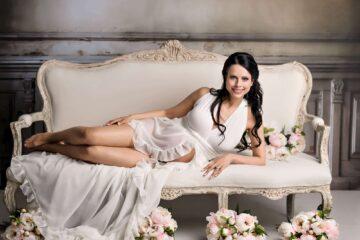 Chiffon Frilly Edge White Maternity Gown Eden Bao