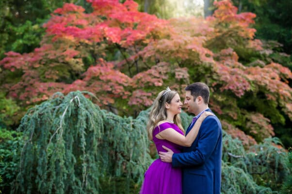 Kubota Garden Fall Couple Engagement Photo by Eden Bao