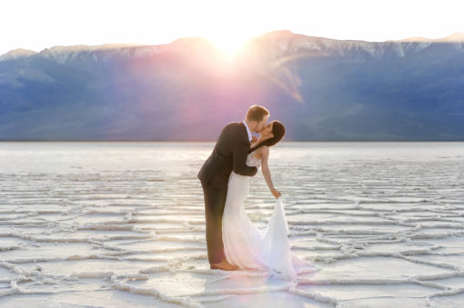 Badwater salt flat engagement photos by Eden Bao
