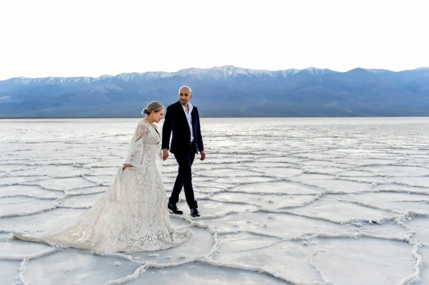 Badwater salt flat engagement photography by Eden Bao
