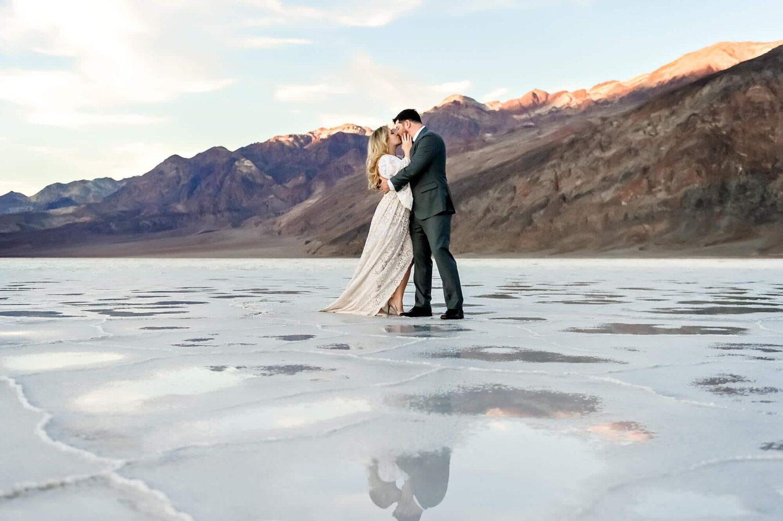 Badwater salt flat engagement portrait by Eden Bao