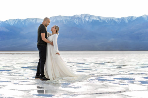 Badwater salt flat engagement photo by Eden Bao