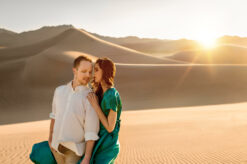 Sand dune couple engagement photo by Eden Bao