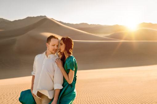 Sand dune couple engagement photo by Eden Bao