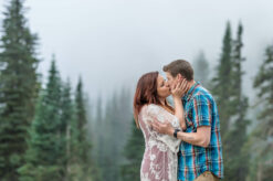 Couple Engagement Mt Rainier Fog Photo by Eden Bao