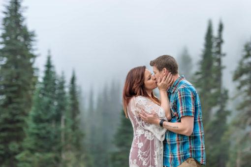 Couple Engagement Mt Rainier Fog Photo by Eden Bao