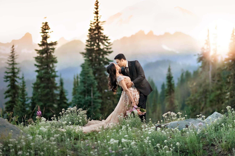 Mt Rainier Summer Couple Engagement Photo by Eden Bao