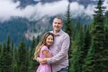 Fog Mt Rainier National Park Couple Engagement Photo by Eden Bao