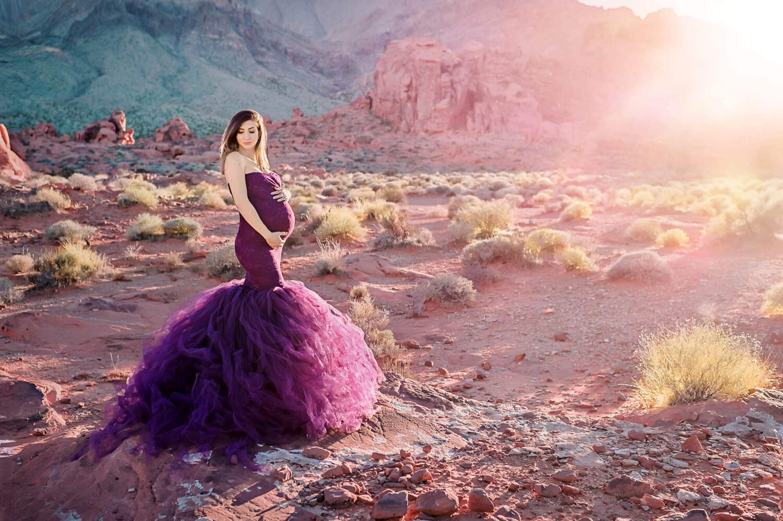 Desert Maternity Purple Dress Eden Bao