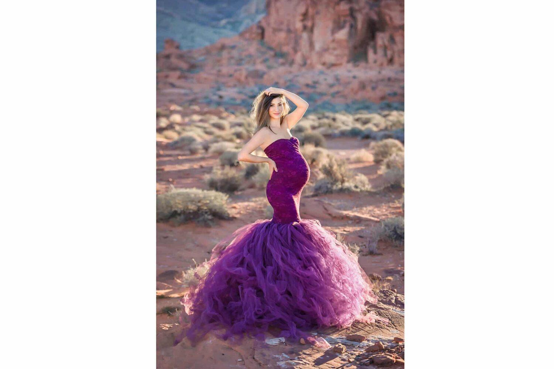 Desert Maternity Purple Dress Eden Bao 2