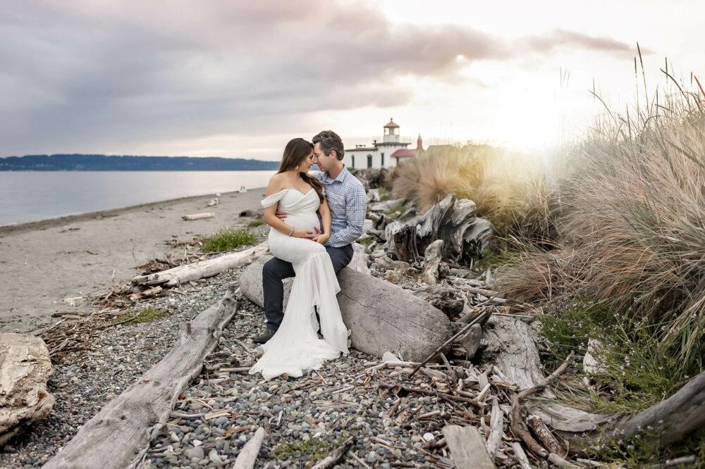 Discovery Park Lighthouse Samantha Maternity Ivory Dress Eden Bao