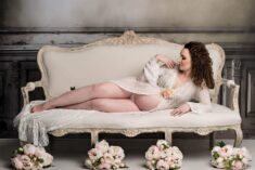 Lace Ivory Robe Maternity Photography Eden Bao