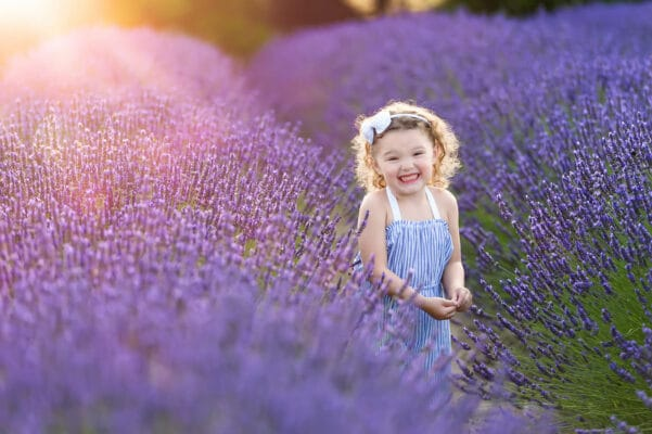 Lavender Farm Child Portrait by Eden Bao