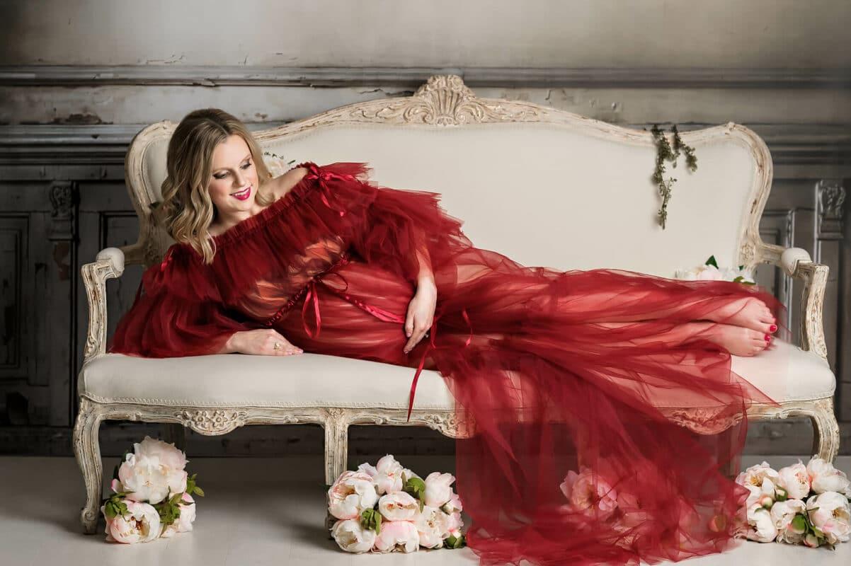 Leila Burgundy Maternity Gown Tulle Eden Bao