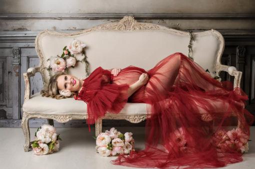 Leila Burgundy Maternity Gown Tulle Eden Bao 3