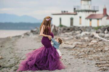 Lighthouse Maternity Purple Dress Eden Bao