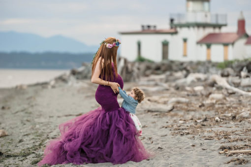 Lighthouse Maternity Purple Dress Eden Bao