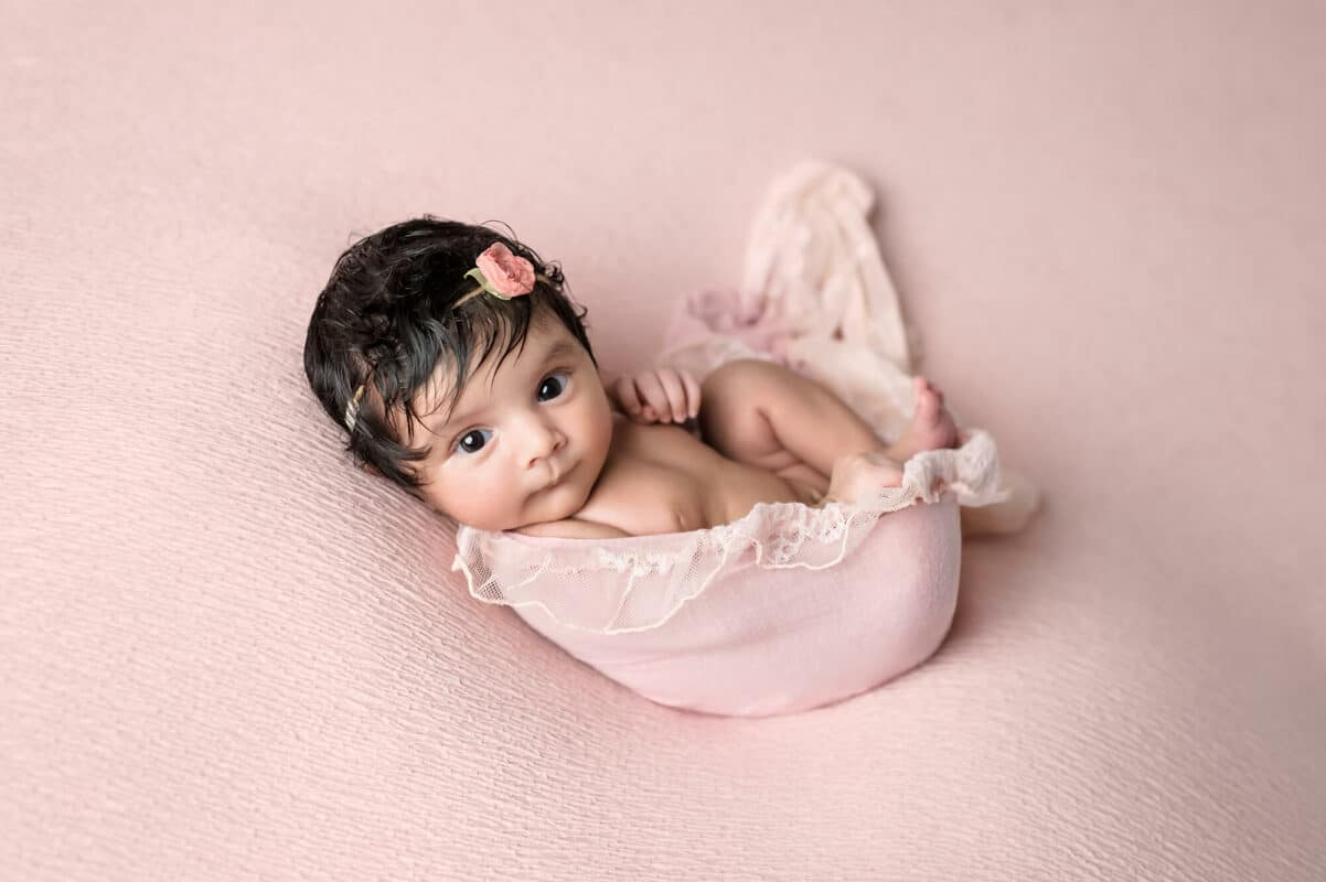 Newborn Eye Open Pink Backdrop Eden Bao