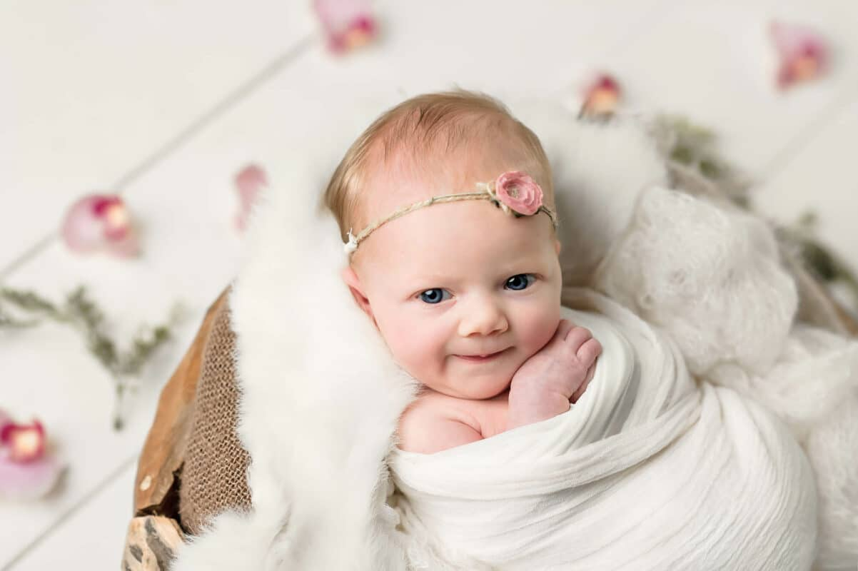 Pink Orchid White Backdrop Newborn Eden Bao