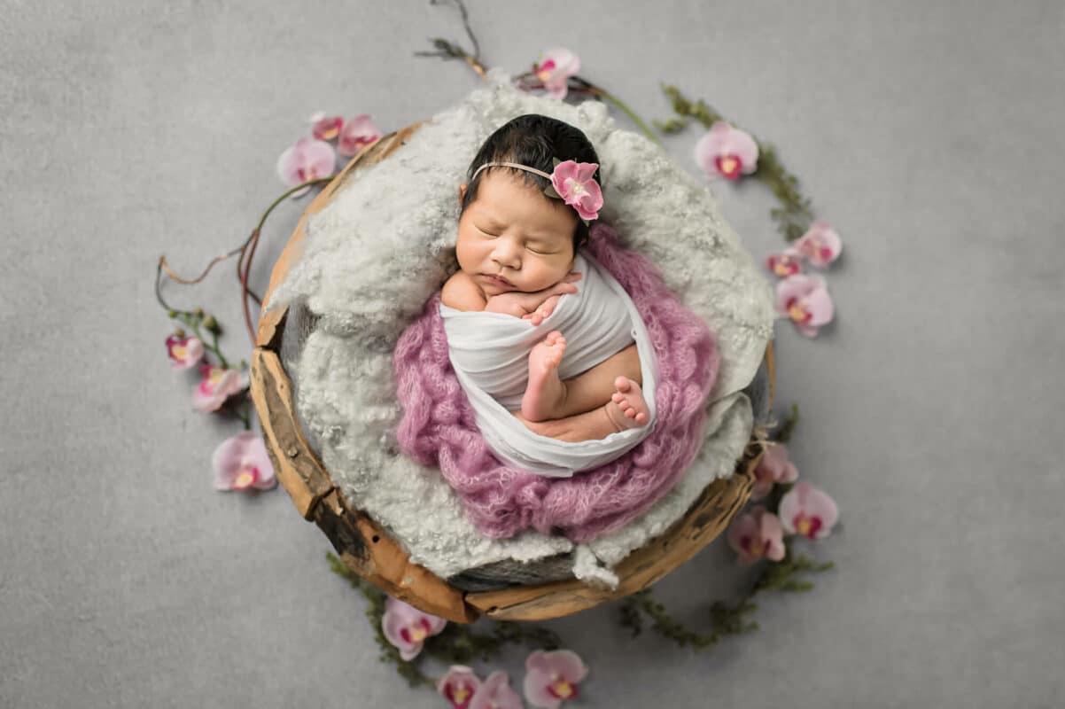 Pink Orchids Light Grey Newborn Eden Bao