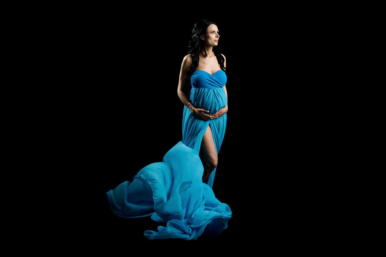 Raquel Maternity Gown Peacock Blue Eden Bao