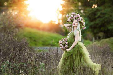 Serena Green Tulle Maternity Gown Eden Bao