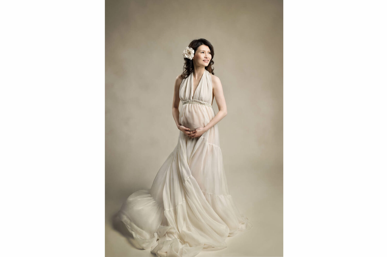 Studio Maternity Chiffon Ivory Dress Eden Bao
