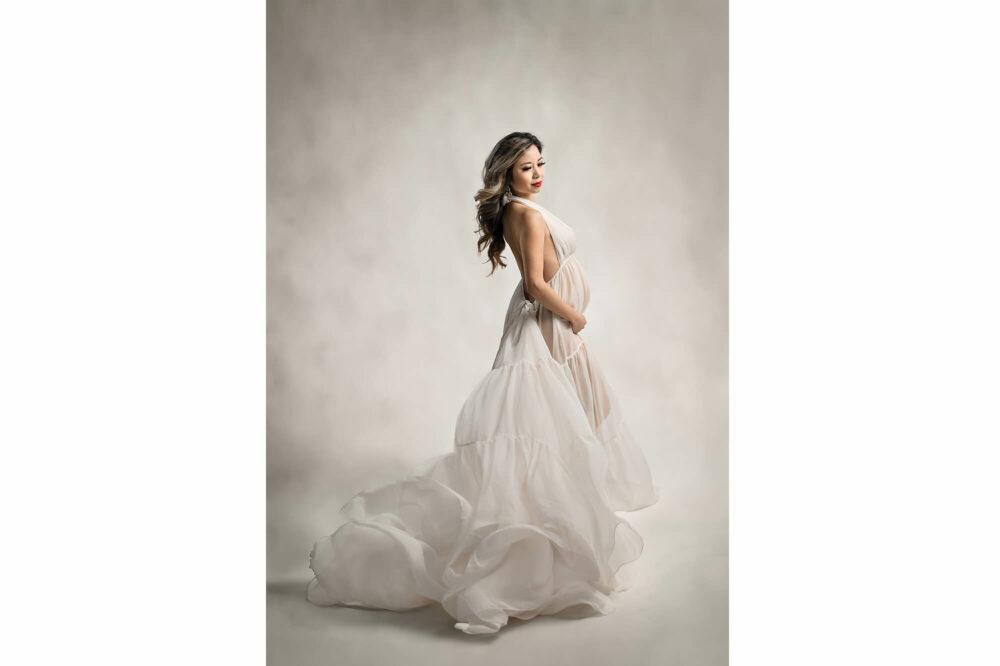 Studio Maternity Chiffon Ivory Dress Eden Bao 2