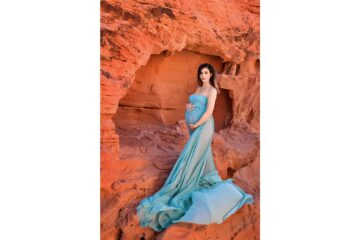 Valley of Fire Maternity Teal Dress Eden Bao