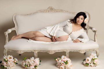 Vintage Cream Robe Maternity Photography Eden Bao