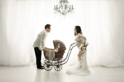 White Curtains White Lace Maternity Long Train Dress Eden Bao