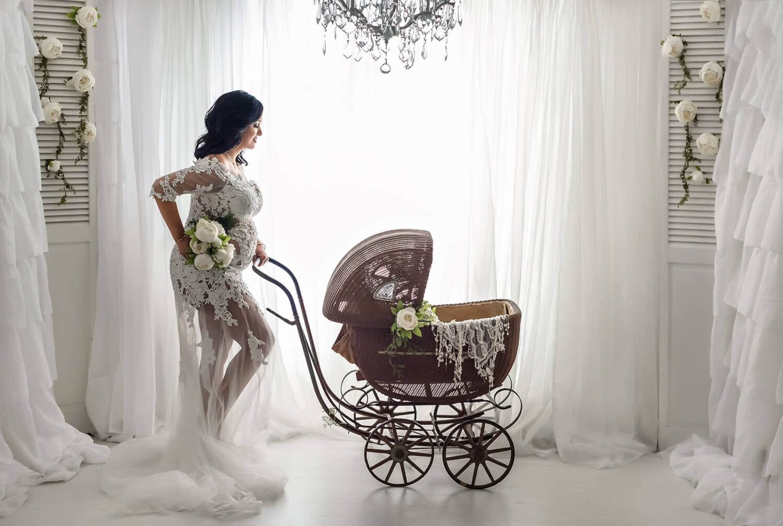 White Curtains White Lace Maternity Long Train Dress Eden Bao