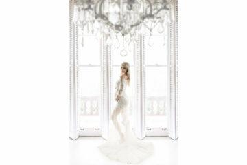 White Windows Shutter White Lace Maternity Long Train Dress Eden Bao