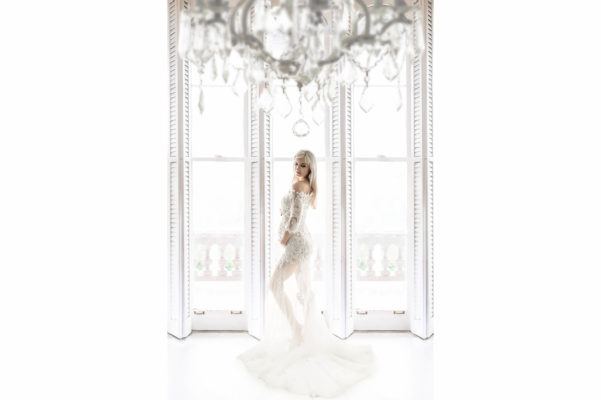 White Windows Shutter White Lace Maternity Long Train Dress Eden Bao