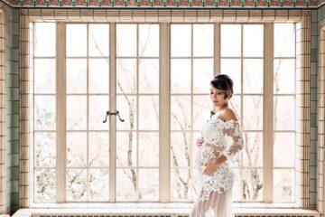 Window White Lace Maternity Long Train Dress Eden Bao