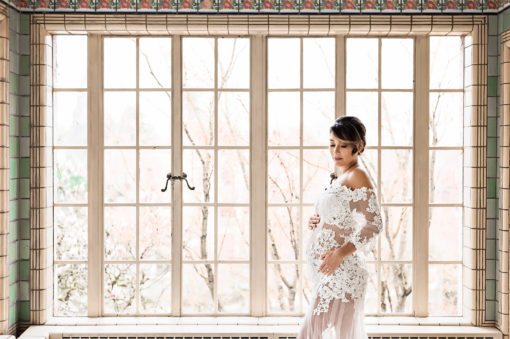 Window White Lace Maternity Long Train Dress Eden Bao