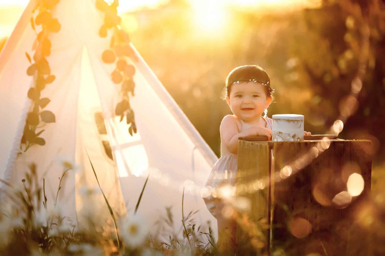 Discovery Park Baby Photographer sunset cake smash