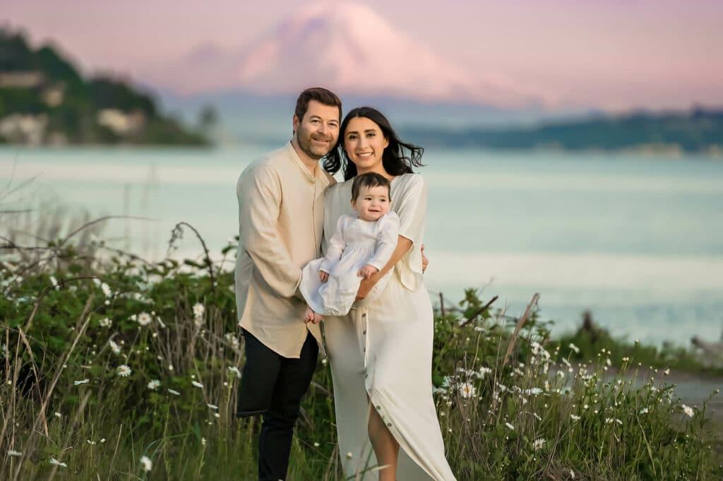 Family Photographer Seattle Discovery Park Mt Rainier
