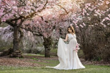 PNW Cherry Blossom Maternity Photographer