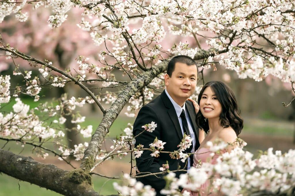 Seattle Cherry Blossom Couple Photographer