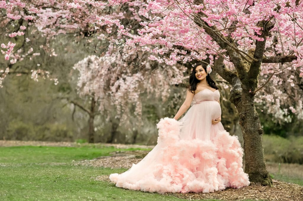Seattle Cherry Blossom Maternity Photography