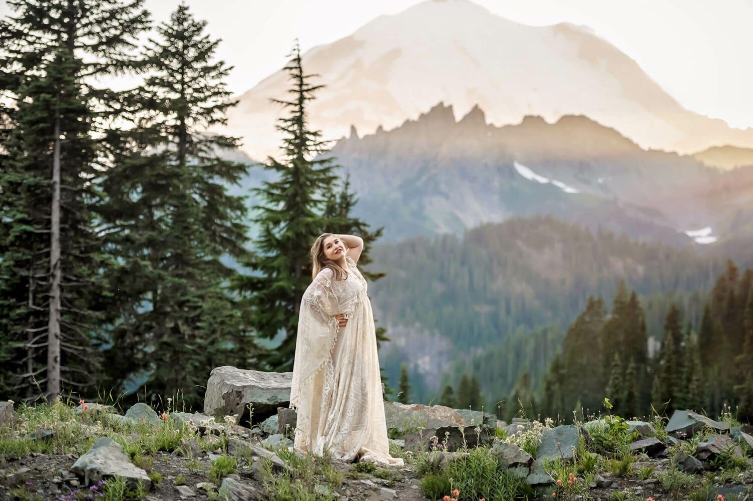 Boho Dress Mt Rainier Adventure Seattle Photographer